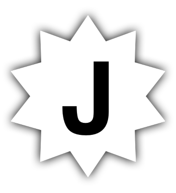 Jeddak logo: a black J on a white 10-pointed star